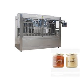 PLC Control 8 Nozzles Paste Filling Machine , 400G Glass Jam Jar Filling Machine