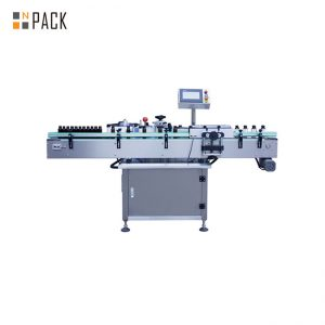 Roll Sticker Type Automatic Labeling Machine For Round Glass / Plastic Bottle